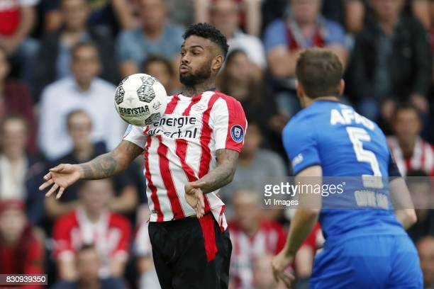 Jurgen Locadia of PSV Thomas Ouwejan of AZ during the Dutch Eredivisie match between PSV Eindhoven and AZ Alkmaar at the Phillips stadium on August...