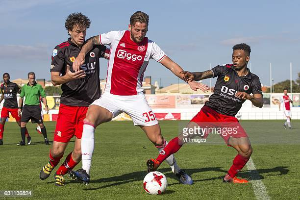 Jurgen Mattheij of Excelsior Mitchell Dijks of Ajax Amsterdam Fredy Ribeiro of Excelsiorduring the friendly match between Ajax Amsterdam and...