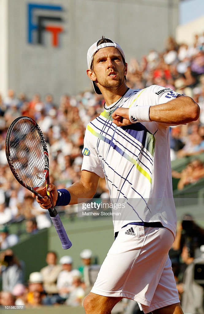 <a gi-track='captionPersonalityLinkClicked' href=/galleries/search?phrase=Jurgen+Melzer&family=editorial&specificpeople=200702 ng-click='$event.stopPropagation()'>Jurgen Melzer</a> of Austria celebrates winning the fourth set during the men's singles quarter final match between Novak Djokovic of Serbia and <a gi-track='captionPersonalityLinkClicked' href=/galleries/search?phrase=Jurgen+Melzer&family=editorial&specificpeople=200702 ng-click='$event.stopPropagation()'>Jurgen Melzer</a> of Austria at the French Open on day eleven of the French Open at Roland Garros on June 2, 2010 in Paris, France.