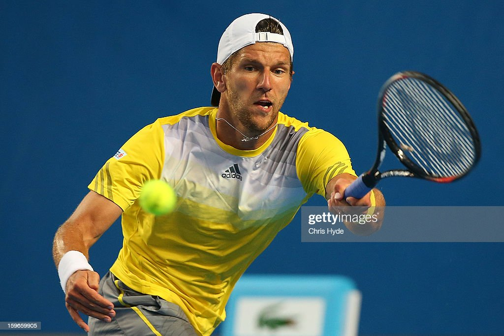 Jurgen Melzer of Austria plays a forehand in his third round match against Tomas Berdych of the Czech Republic during day five of the 2013 Australian Open at Melbourne Park on January 18, 2013 in Melbourne, Australia.