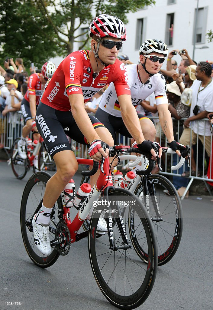 Jurgen Roelandts of Belgium and Lotto-Belisol and <a gi-track='captionPersonalityLinkClicked' href=/galleries/search?phrase=Andre+Greipel&family=editorial&specificpeople=874849 ng-click='$event.stopPropagation()'>Andre Greipel</a> of Germany and Lotto-Belisol in action during the twenty one and last stage of the 2014 Tour de France, a 134 km individual time trial stage between Evry and the Champs-Elysees in Paris on July 27, 2014 in Paris, France.