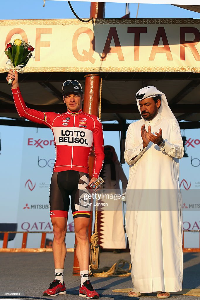 Jurgen Roelandts of Germany stands on the podium after finishing 3rd in the Tour of Qatar from Sealine Beach Resort to Doha Corniche on February 14, 2014 in Doha, Qatar.