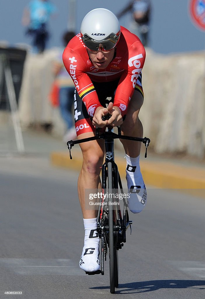 Jurgen Roelandts of Lotto Belisol in action during stage seven of the 2014 Tirreno Adriatico, a 9.1 km individual time trial stage on March 18, 2014 in San Benedetto del Tronto, Italy.