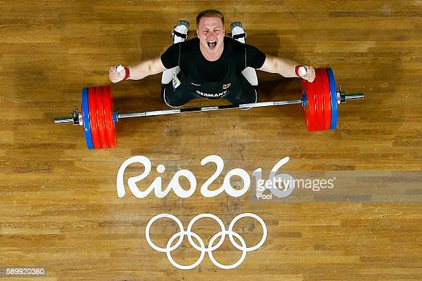 Jurgen Spiess of Germany reacts during the Men's 105kg Group B Weightlifting event on Day 10 of the Rio 2016 Olympic Games at Riocentro Pavilion 2 on...