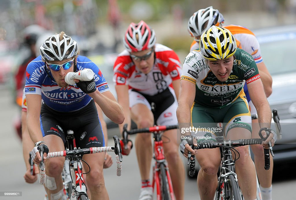 Jurgen Van De Walle (L) of Belgium and riding for Quickstep takes a drink as he and Ryan Anderson (R) of Canada and riding for Kelly Benefits work in the break away as they approachthey approach the Mines Road climb during Stage Four of the 2010 Tour of California from San Jose to Modesto on May 19, 2010 in Alameda County, California. Anderson earned the king of the mountains jersey after winning both of the days catagorized climbs.