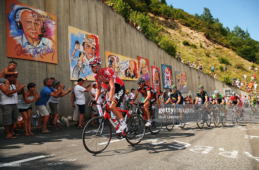 Jurgen Van Den Broeck of Belgium and Lotto Belisol in action during the seventeenth stage of the 2014 Tour de France, a 125km stage between Saint-Gaudens and Saint-Lary-Soulan Pla d'Adet, on July 23, 2014 in Saint-Lary Pla d'Adet, France.