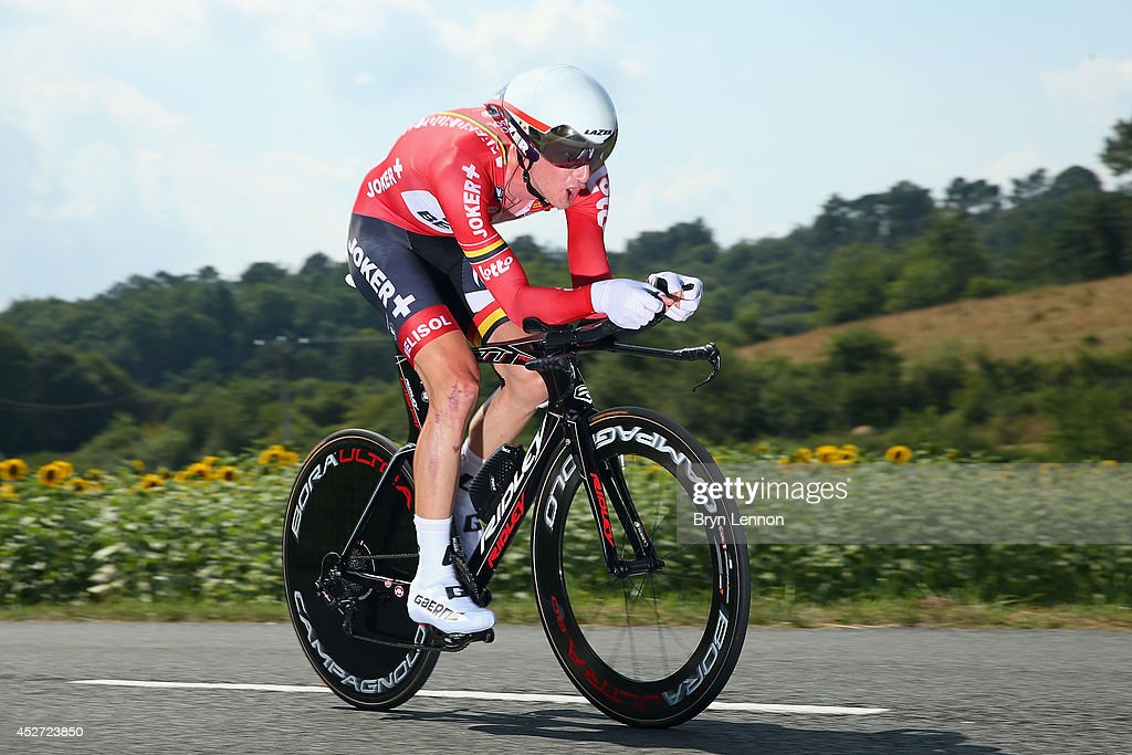 Jurgen Van Den Broeck of Belgium and Lotto Belisol in action during the twentieth stage of the 2014 Tour de France, a 54km individual time trial stage between Bergerac and Perigueux, on July 26, 2014 in Perigueux, France.