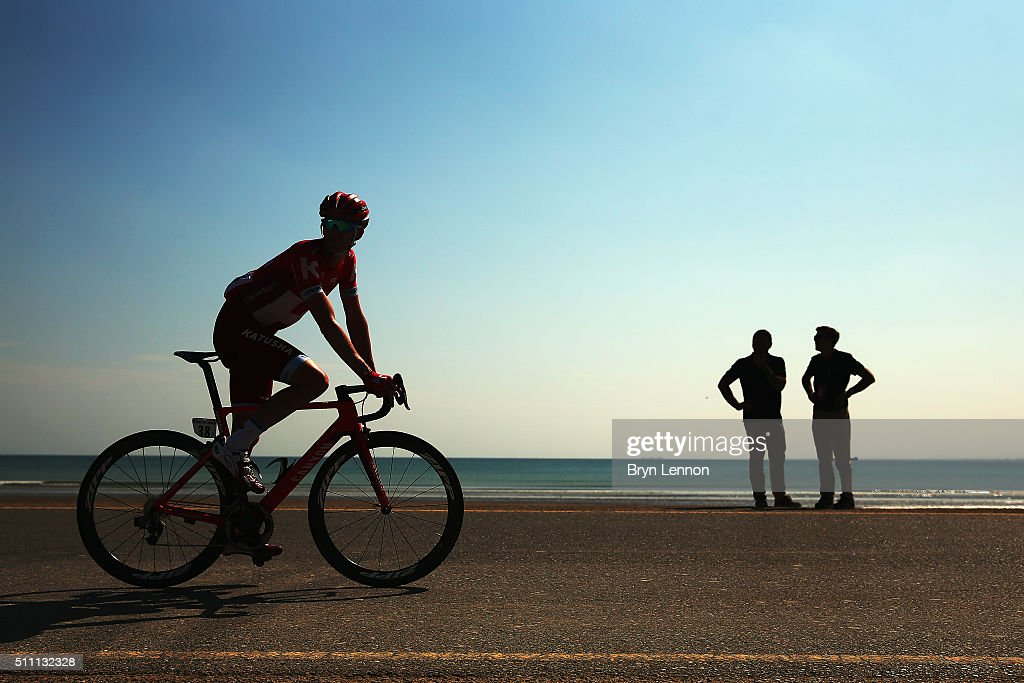 <a gi-track='captionPersonalityLinkClicked' href=/galleries/search?phrase=Jurgen+Van+den+Broeck&family=editorial&specificpeople=4272386 ng-click='$event.stopPropagation()'>Jurgen Van den Broeck</a> of Belgium and Team Katusha rides to the start of stage three of the 2016 Tour of Oman, a 176.5km road stage from Al Sawadi Beach to Naseem Beach, on February 18, 2016 in Naseem Beach, Oman.