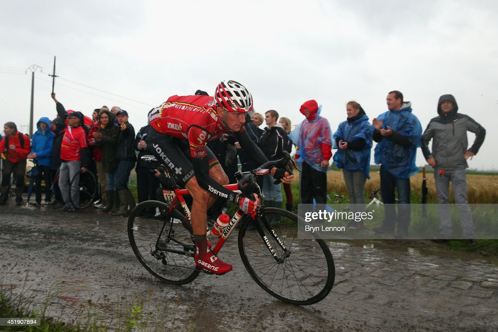 Jurgen Van Den Broeck of Belgium and Team Lotto Belisol in action on the pave during the fifth stage of the 2014 Tour de France, a 155km stage between Ypres and Arenberg Porte du Hainaut, on July 9, 2014 in Porte du Hainaut, France.