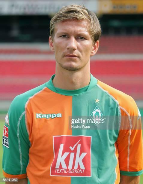 Jurica Vranjes poses during the team presentation of Werder Bremen for the Bundesliga season 2005 2006 on July 15 2005 in Bremen Germany