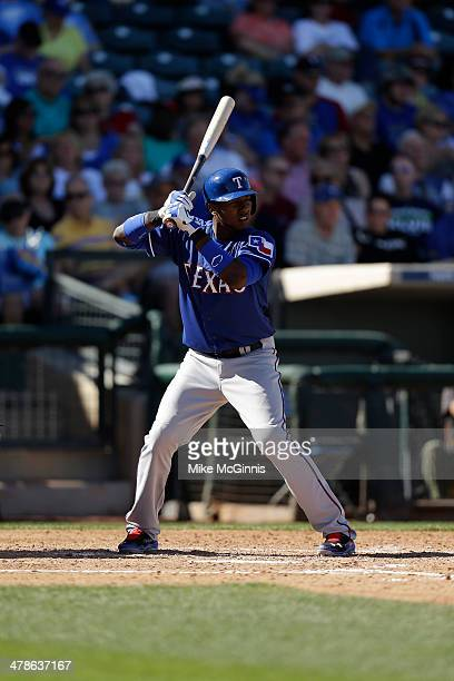 Jurickson Profar of the Texas Rangers gets ready for the next pitch during the spring training game against the Kansas City Royals at Surprise...