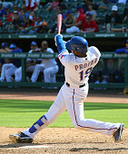 Jurickson Profar of the Texas Rangers hits a home run in the ninth inning against the Minnesota Twins at Globe Life Park in Arlington on July 10 2016...