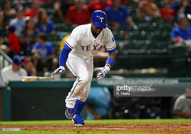Jurickson Profar of the Texas Rangers hits in the ninth inning against the Oakland Athletics at Globe Life Park in Arlington on September 17 2016 in...