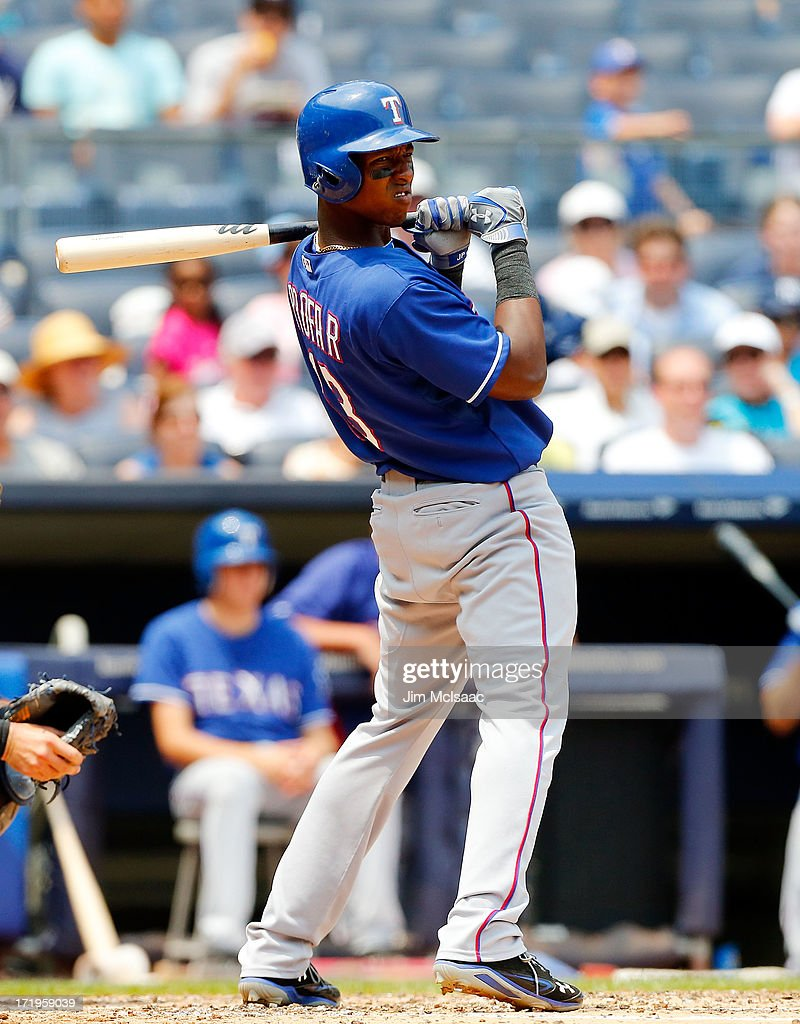 Jurickson Profar #13 of the Texas Rangers in action against the New York Yankees at Yankee Stadium on June 27, 2013 in the Bronx borough of New York City. The Rangers defeated the Yankees 2-0.