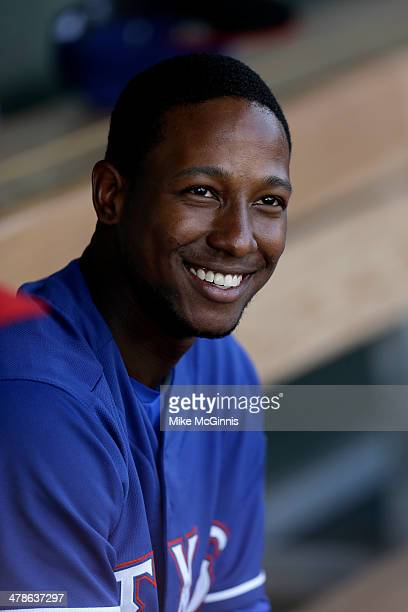 Jurickson Profar of the Texas Rangers in the dugout during the spring training game against the Kansas City Royals at Surprise Stadium on February 27...
