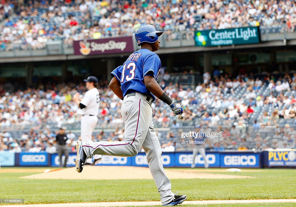 Jurickson Profar #13 of the Texas Rangers runs the bases after his fifth inning home run against Phil Hughes #65 of the New York Yankees at Yankee Stadium on June 27, 2013 in the Bronx borough of New York City.