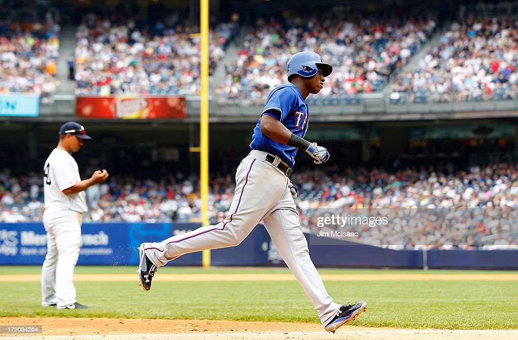 Jurickson Profar #13 of the Texas Rangers runs the bases after his fifth inning home run against the New York Yankees at Yankee Stadium on June 27, 2013 in the Bronx borough of New York City. The Rangers defeated the Yankees 2-0.