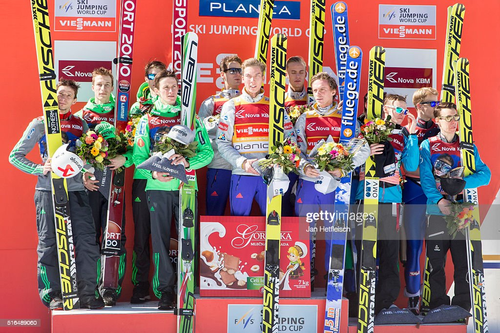 Jurij Tepes, Anze Semenic, Robert Kranjec and Peter Prevc of Slovenia, Daniel Andre Tande, Anders Fannemel, Keneth Gangnes of Norway and Johann Andre Forfang of Norway, Stefan Kraft, Manuel Poppinger, Manuel Fettner and Michael Hayboeck of Austria pose for a picture during the victory ceremony the FIS Ski Jumping World Cup at Planica on March 19, 2016 in Planica, Slovenia.