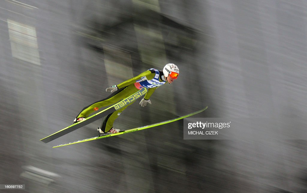 Jurij Tepes of Slovenia of Slovenia soars through the air during the second competition of the Ski Flying event of the FIS Ski Jumping World Cup in Harrachov on February 03, 2013.Gregor Schlierenzauer of Austria won this event ahead Jan Matura of the Czech Repuplic (2nd) and Jurij Tepes of Slovenia (3rd).AFP PHOTO / MICHAL CIZEK