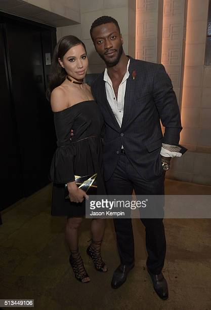 Jurnee SmollettBell and Aldis Hodge attend the after party for the premiere of WGN America's 'Underground' at The Theatre At The Ace Hotel on March 2...