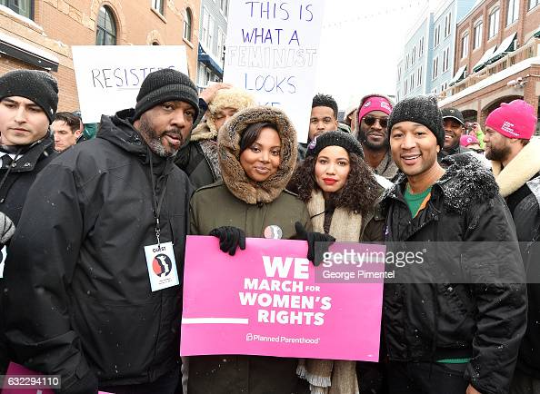 Jurnee SmollettBell and John Legend posed at Women's March on Main Street Park City on January 21 2017 in Park City Utah