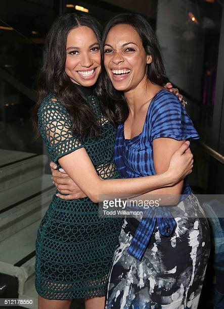 Jurnee SmollettBell and Rosario Dawson attend the Alfre Woodard's 7th Annual 'Oscar's Sistahs Soiree' Presented By Tanqueray No TEN And Perennial...