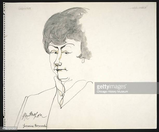 Juror Lorraine Bernecki in a courtroom illustration during the trial of the Chicago Eight Chicago Illinois late 1969 or early 1970 The Eight or Seven...