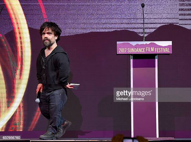 Juror Peter Dinklage speaks during the 2017 Sundance Film Festival Awards Night Ceremony at Basin Recreation Field House on January 28 2017 in Park...