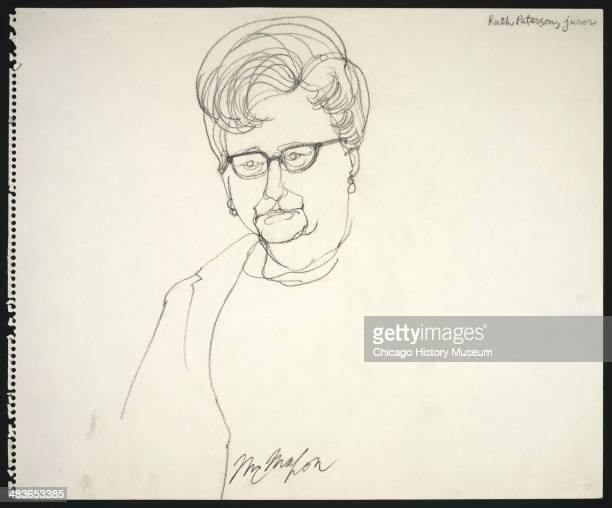 Juror Ruth Peterson in a courtroom illustration during the trial of the Chicago Eight Chicago Illinois late 1969 or early 1970 The Eight or Seven as...