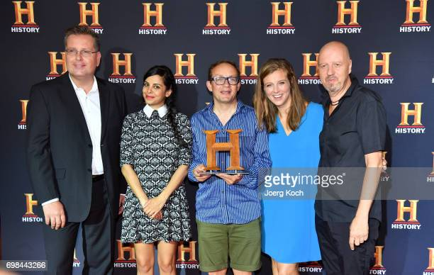Juror Sascha Priester actress and patroness Collien UlmenFernandes host and juror Wigald Boning host Nina Eichinger and Andreas Weinek Managing...