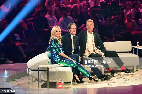 Jurors Heidi Klum Thomas Hayo and Wolfgang Joop wear red clown noses during the final of the tv show 'Germany's Next Topmodel' at SAP Arena on May 14...