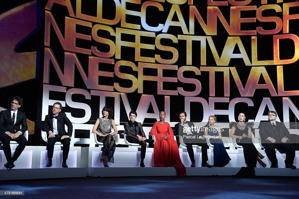 Jurors Joel Coen Ethan Coen Sophie Marceau Xavier Dolan Rokia Traore Jake Gyllenhaal Sienna Miller Rossy de Palma and Guillermo Del Toro during the...
