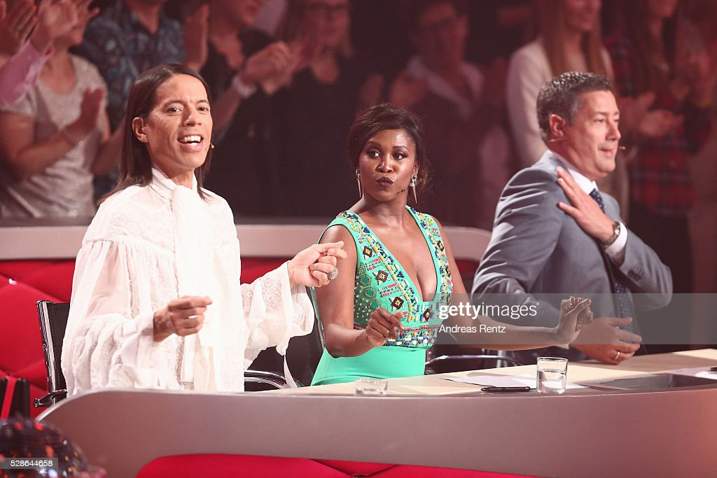 Jurors Jorge Gonzalez, Motsi Mabuse and Joachim Llambi seen on stage during the 8th show of the television competition 'Let's Dance' on May 6, 2016 in Cologne, Germany.