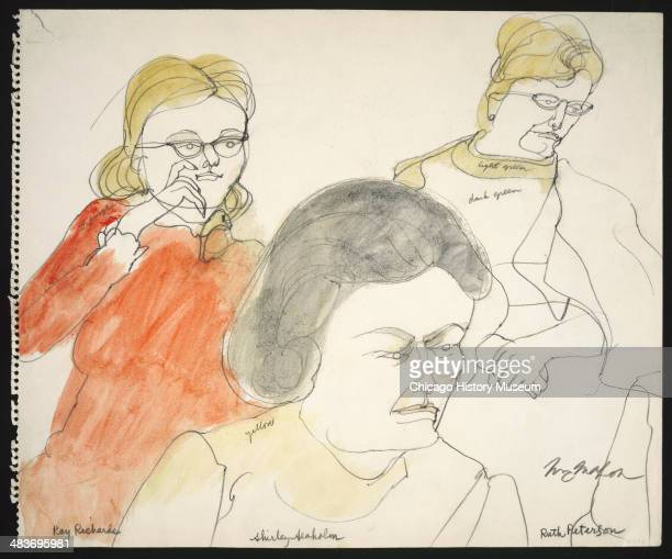 Jurors Kay Richards Shirley Seaholm and Ruth Peterson in a courtroom illustration during the trial of the Chicago Eight Chicago Illinois late 1969 or...
