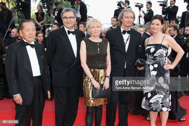Jurors Kim DongHo Serge Toubiana Jury Un Certain Regard President Claire Denis Patrick Ferla and Helena Lindblad attend the Premiere of 'On Tour' at...