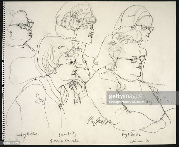 Jurors Mary Butler Jean Fritz Lorraine Bernecki Kay Richards and Miriam Hill in a courtroom illustration during the trial of the Chicago Eight...