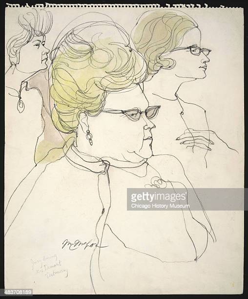 Jurors Mildred Burns Ruth Peterson and Kay Richards during Mrs Dumant's testimony in a courtroom illustration during the trial of the Chicago Eight...