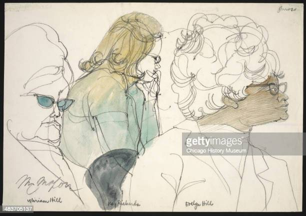 Jurors Miriam Hill Kay Richards and Evelyn Hill in a courtroom illustration during the trial of the Chicago Eight Chicago Illinois late 1969 or early...