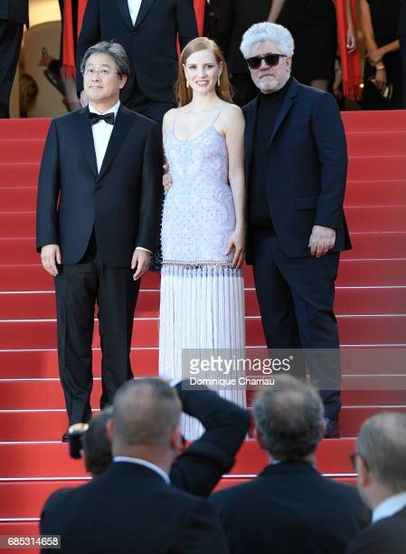 Jurors Park Chanwook Jessica Chastain and President of the jury Pedro Almodovar attend the 'Okja' screening during the 70th annual Cannes Film...