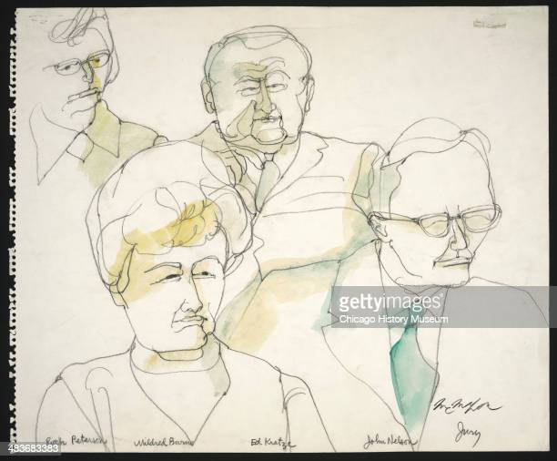 Jurors Ruth Peterson Mildred Burns Ed Kratzke and John Nelson in a courtroom illustration during the trial of the Chicago Eight Chicago Illinois late...