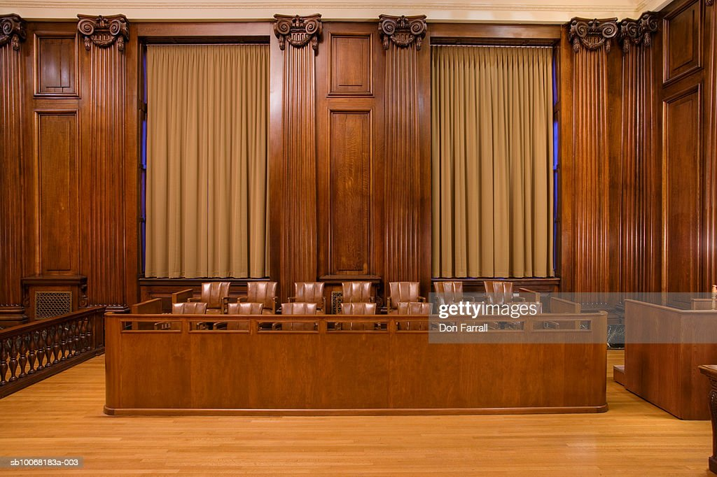 Jury box in courtroom