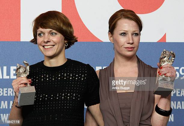 Jury Grand Prix Silver Bear winner Maren Ade and Silver Bear for the Best Actress winner Birgit Minichmayr attend the Award Winners press conference...