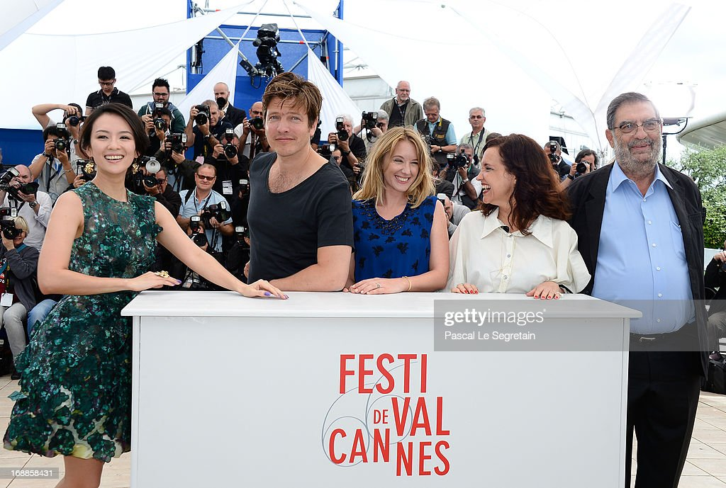 Jury member actress Zhang Ziyi, Jury President <a gi-track='captionPersonalityLinkClicked' href=/galleries/search?phrase=Thomas+Vinterberg&family=editorial&specificpeople=2247734 ng-click='$event.stopPropagation()'>Thomas Vinterberg</a>, Jury members actress <a gi-track='captionPersonalityLinkClicked' href=/galleries/search?phrase=Ludivine+Sagnier&family=editorial&specificpeople=211356 ng-click='$event.stopPropagation()'>Ludivine Sagnier</a>, Director Ilda Santiago and Producer Enrique Gonzalez Macho attend the Jury 'Un Certain Regard' Photocall during the 66th Annual Cannes Film Festival at the Palais des Festivals on May 16, 2013 in Cannes, France.