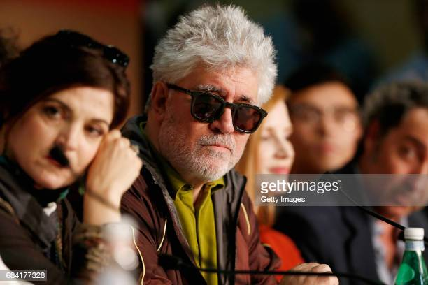 Jury Member Agnes Jaoui and President of the jury Pedro Almodovar attend the Jury press conference during the 70th annual Cannes Film Festival at...