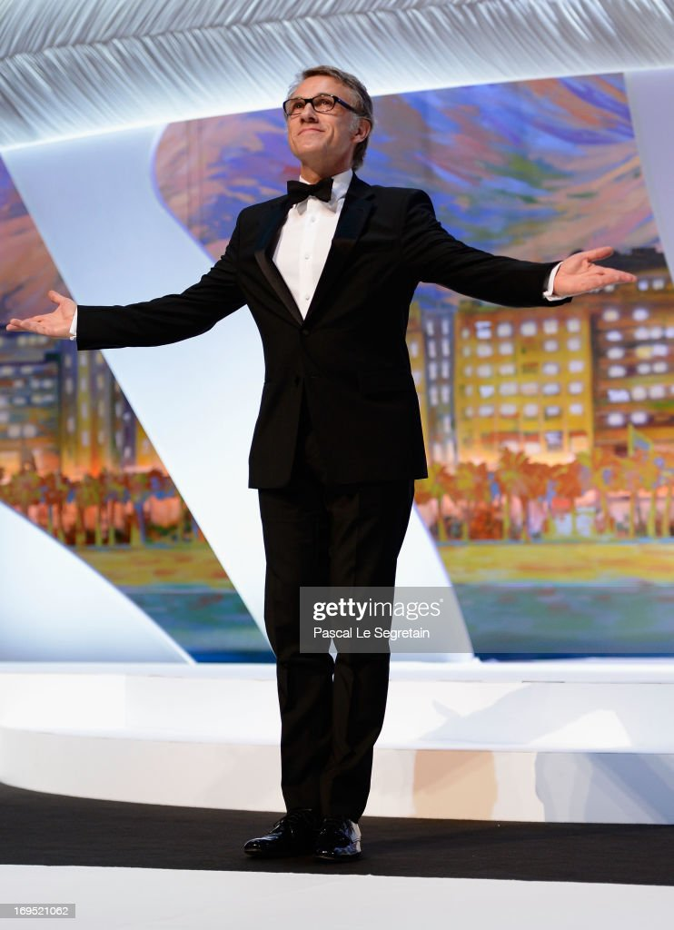 Jury member and actor Christoph Waltzl arrives on stage at the Inside Closing Ceremony during the 66th Annual Cannes Film Festival at the Palais des Festivals on May 26, 2013 in Cannes, France.