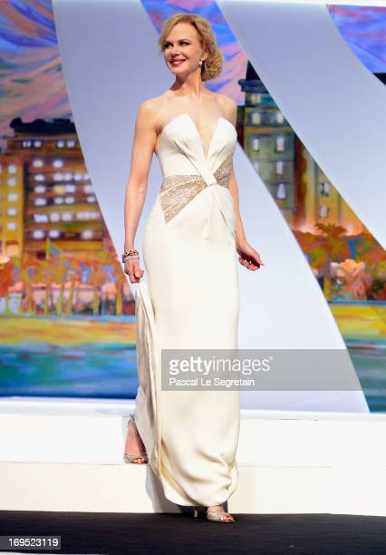 Jury member and actress Nicole Kidman arrives on stage at the Inside Closing Ceremony during the 66th Annual Cannes Film Festival at the Palais des...