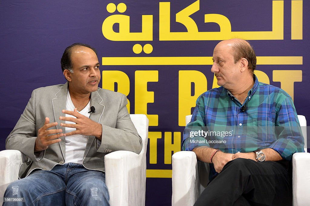 Jury member Ashutosh Gowariker (L) and actor Anupam Kher at the India Discussion during the 2012 Doha Tribeca Film Festival at the Al Mirqab Boutique Hotel on November 20, 2012 in Doha, Qatar.