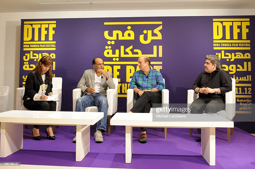 Jury member Ashutosh Gowariker (2ndL) and actor Anupam Kher (2ndR) at the India Discussion during the 2012 Doha Tribeca Film Festival at the Al Mirqab Boutique Hotel on November 20, 2012 in Doha, Qatar.