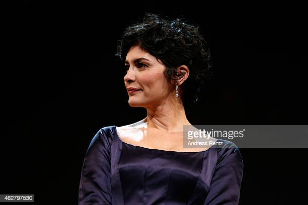 Jury member Audrey Tautou on stage during the opening ceremony at the 65th Berlinale International Film Festival at Berlinale Palace on February 5...
