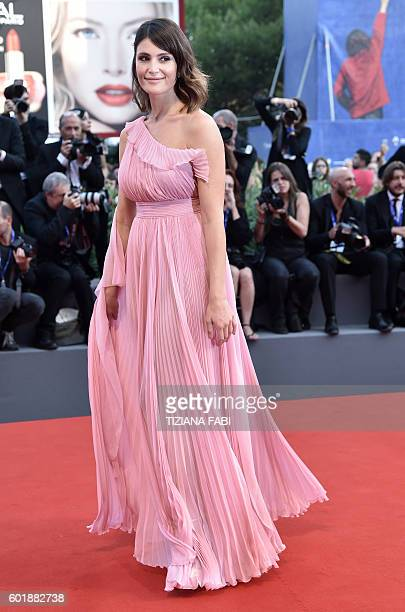 Jury member British actress Gemma Arterton arrives at the awards ceremony of the 73rd Venice Film Festival on September 10 2016 at Venice Lido / AFP...
